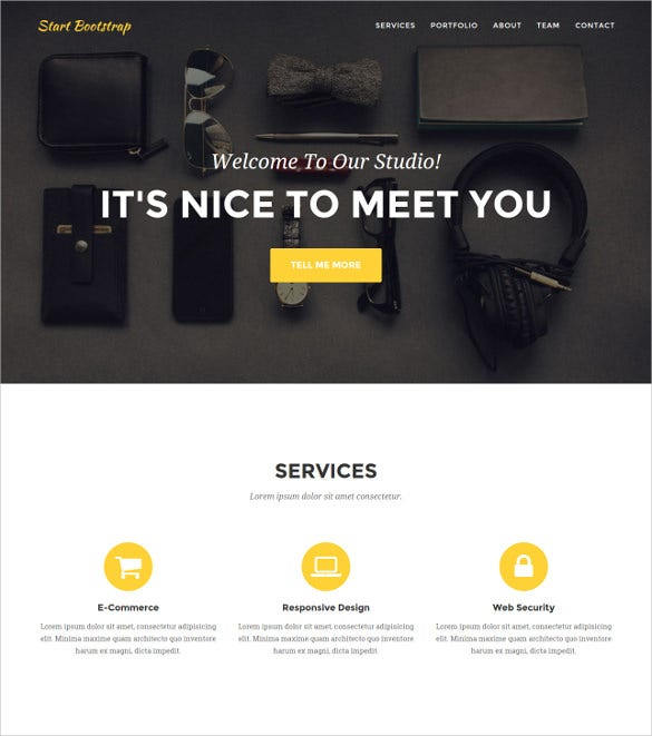 one page agency bootstrap website template