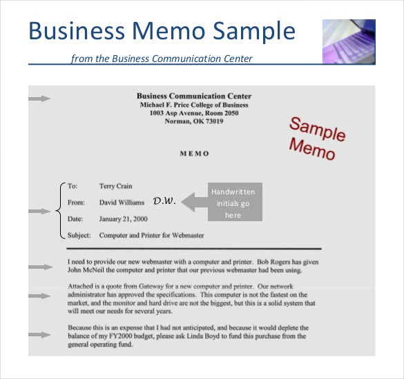 Business Memo Business Memo Template Sample Example Download