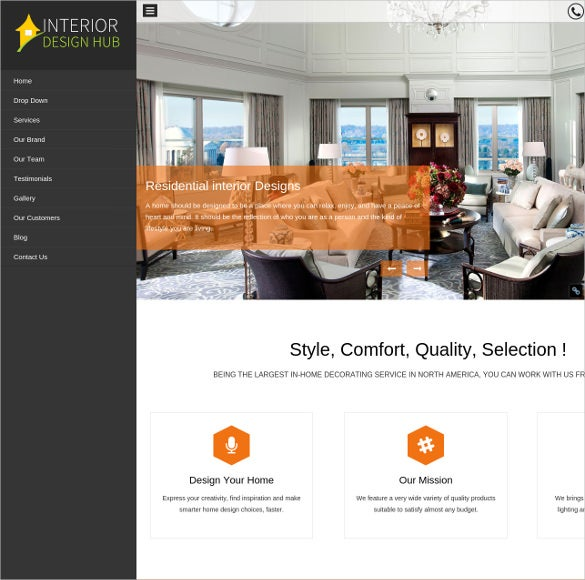 interior one page wordpress website template