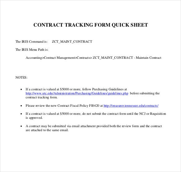 contrack tracking form quick sheet free pdf format download