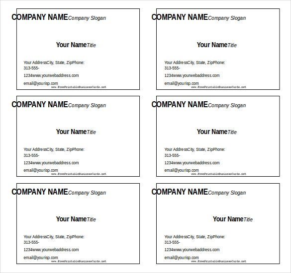 blank business card free word template download