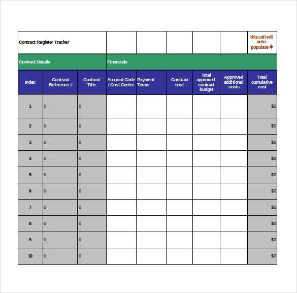 contract tracking template 10 free word excel pdf documents