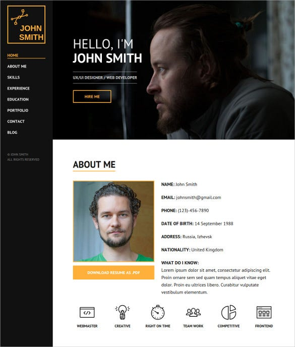 personal portfolio html website template