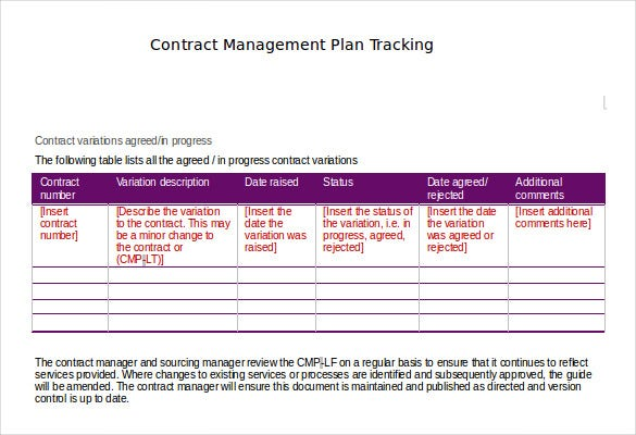 Contract Tracking Template   Free Word Excel Pdf Documents