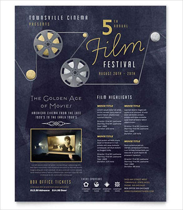 film festival event flyer template in word format download