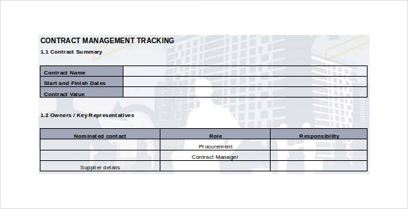 Contract Tracking Template 10 Free Word Excel PDF Documents – Contract Summary Template