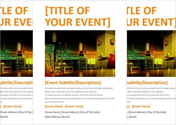 Orange Event Flyer Template Word Doc