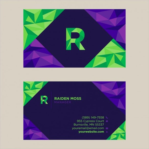 polygonal business card design free vector download