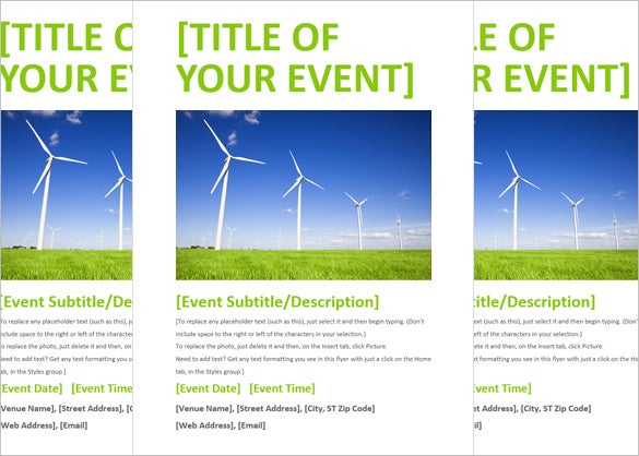 Delightful Word Green Event Flyer Template Download On Flyer Format Word
