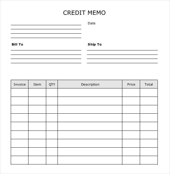 Credit Memo Template   Free Word Excel Pdf Documents
