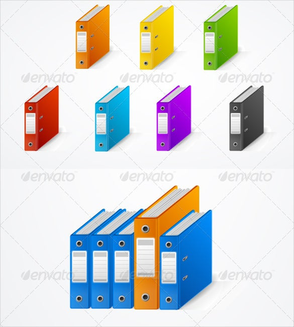 set of colourfull ring binder cover sheet download
