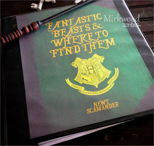 harry potter binder cover word document