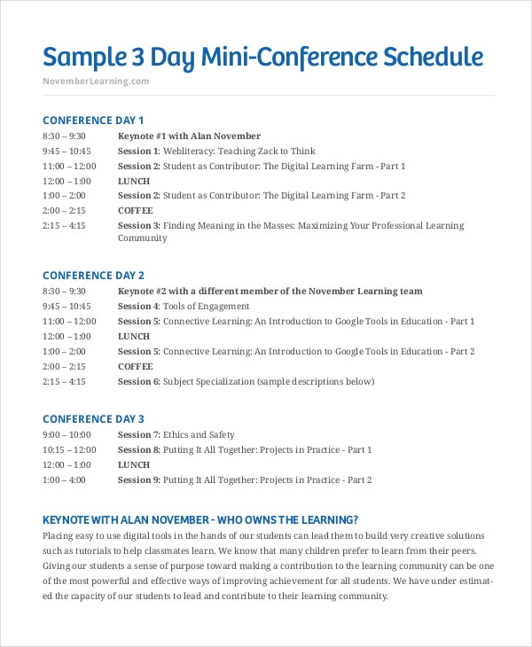 conference time schedule template