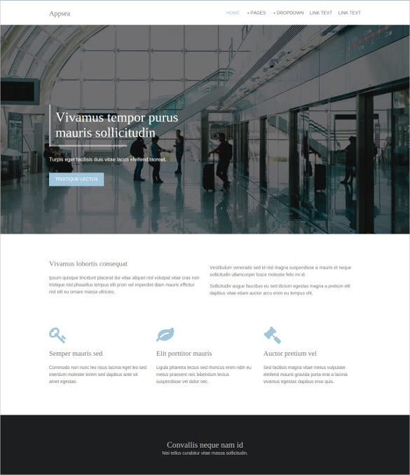 free app html5 website template