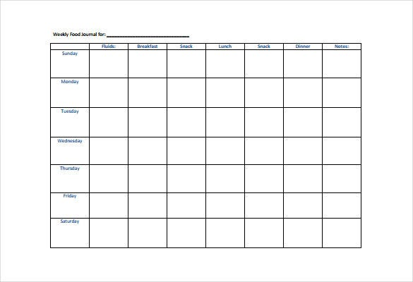 Week Food Diary Template Antalexpolicenciaslatam