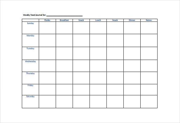 Weekly Food Diary Printable Weekly Calendar – Food Diary Template Download