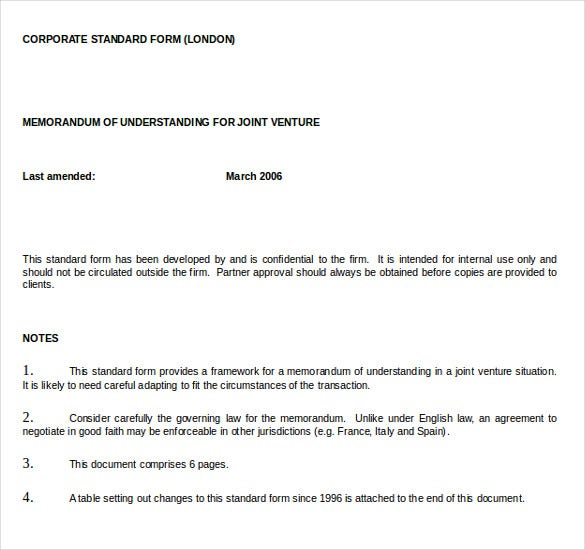 Memorandum of understanding template 14 free word pdf for Memo template word mac