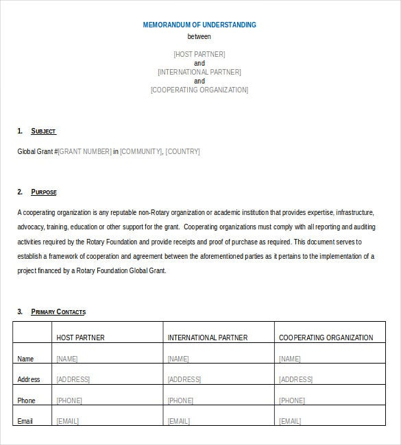 cooperating organization memorandum of understanding word document