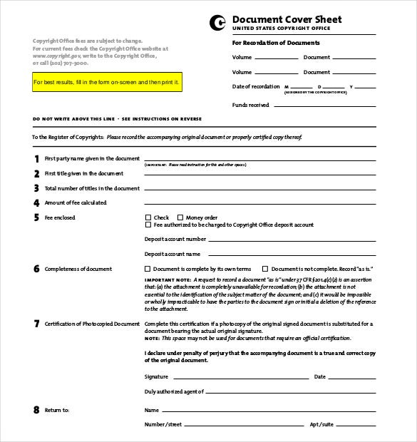 example document privacy act cover sheet
