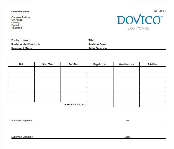 ms word employee time sheet free template
