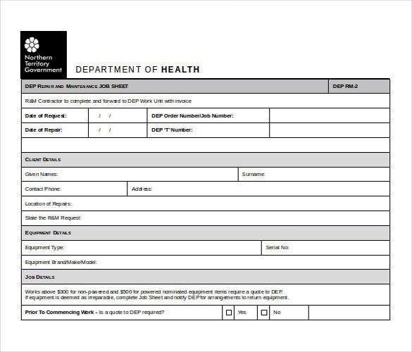 word format job sheet template free download