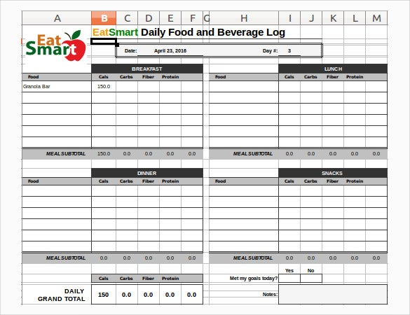 Food Log Spreadsheet Template In Excel Format  Food Diary Template Free