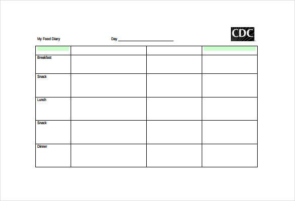 free food log template pdf document download