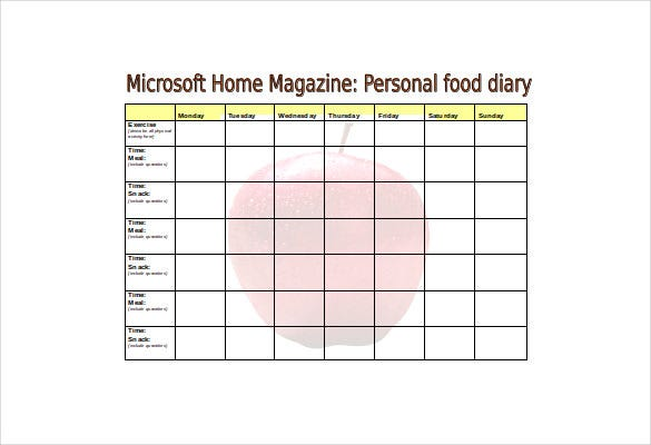 free download food log template in word document