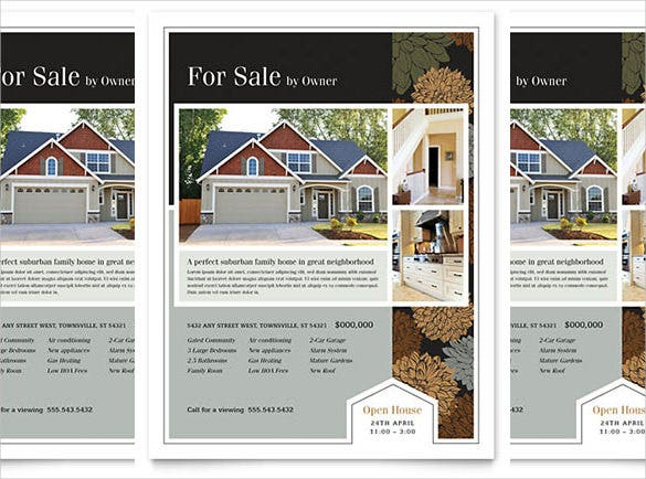 Word Format Suburban Real Estate Flyer Template  For Rent Flyer Template