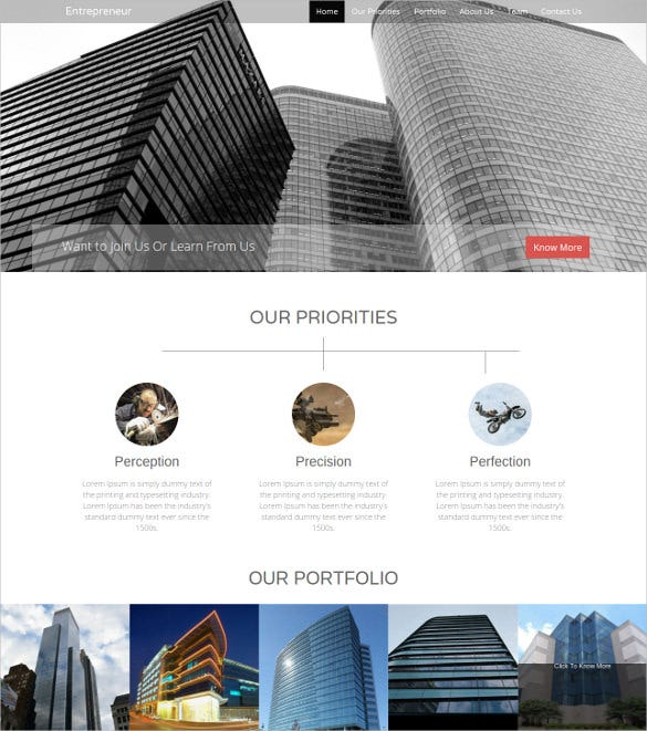 entrepreneur business bootstrap website template