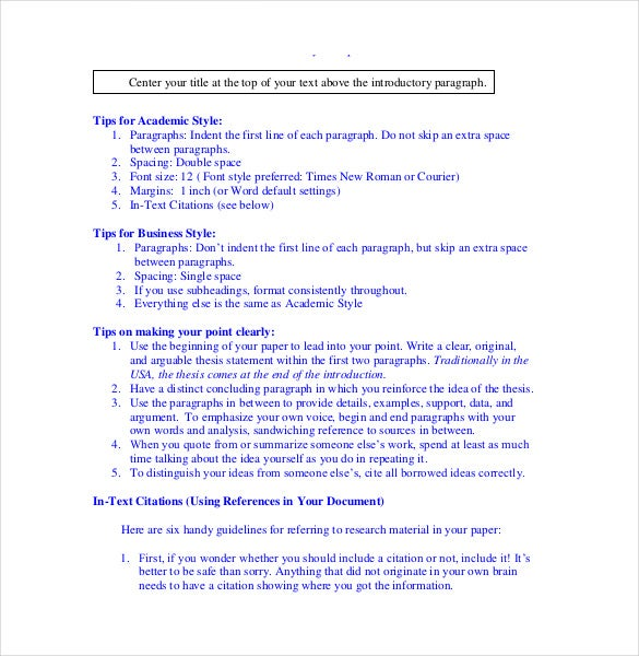 apa term paper reference page