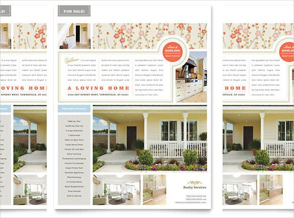 real estate home for sale flyer template in word