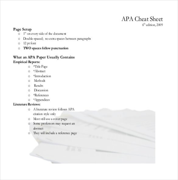 Apa Cover Sheet Templates  Free Sample Example Format