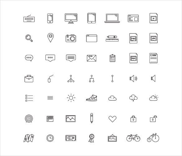 50 different type of free icons download