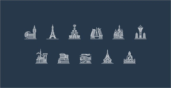 beautiful cities icons bundle