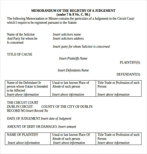 memo for registry of a legal judgement document download in ms word - Free Legal Documents Templates