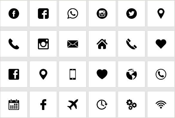 black and white icons bundle