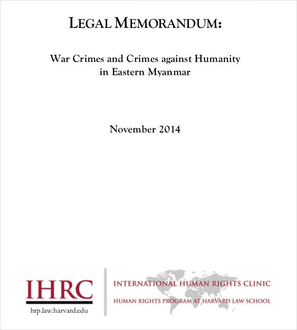 human right legal memorandum template download