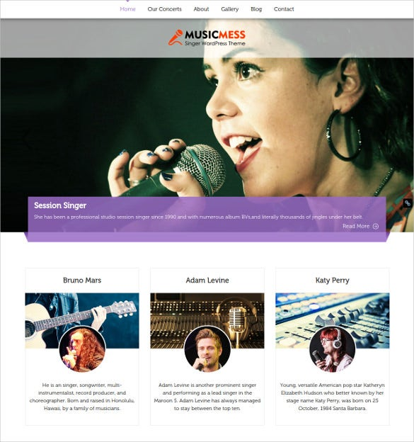 music artist wordpress website template