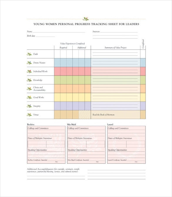 young women personal progress tracking sheet for leaders