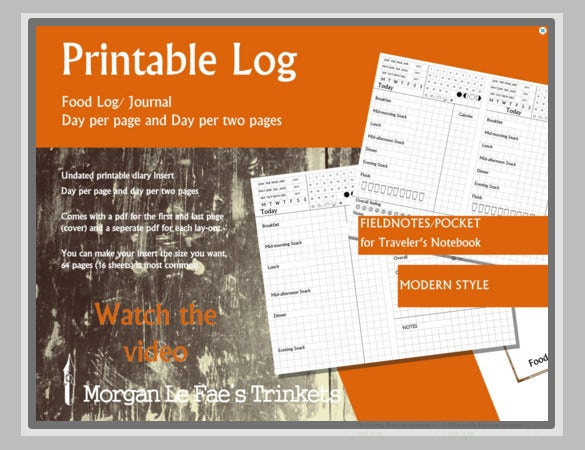 free printable food log template