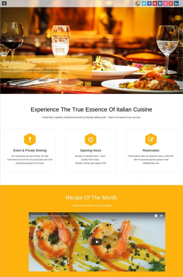 Food Restaurant Website Templates Free Download