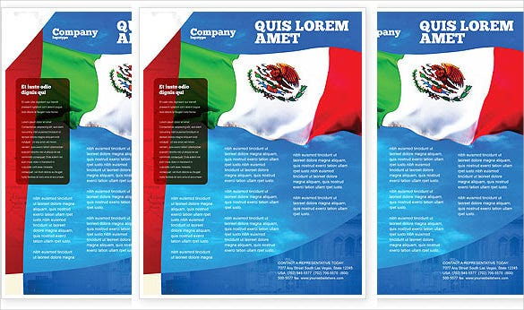 mexican flag flyer template