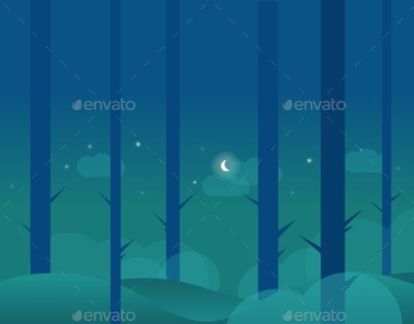 forest and moon winter wallpaper