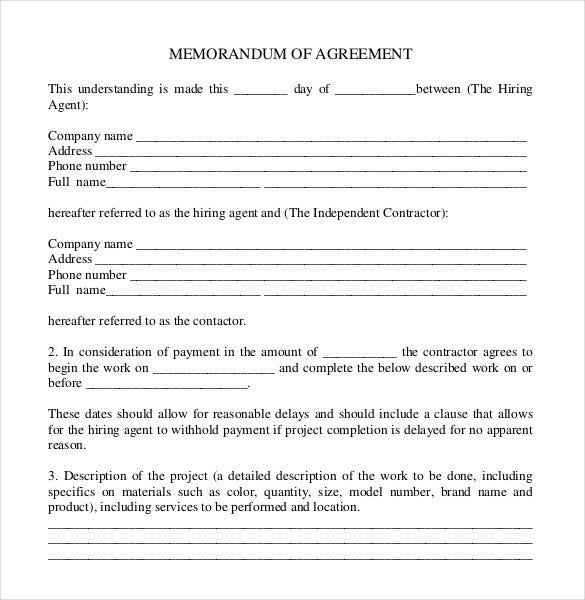 memorandam of comany agreement pdf document free download1