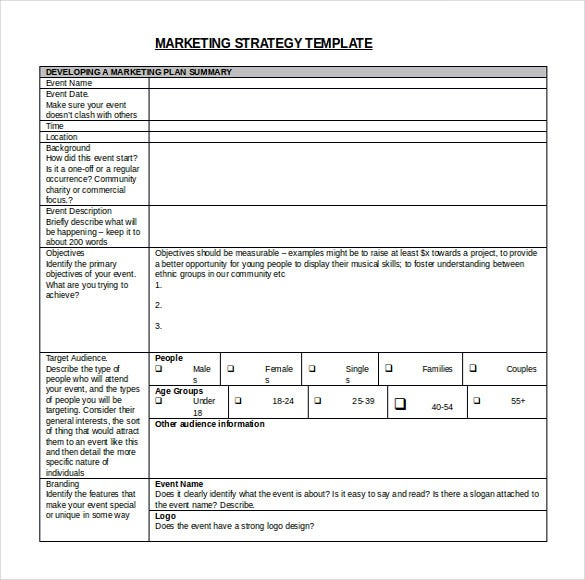 Marketing tactical plan template for Strategic marketing plan template free download