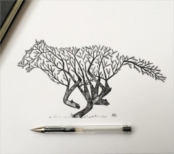 awesome pen drawing of tree animal together