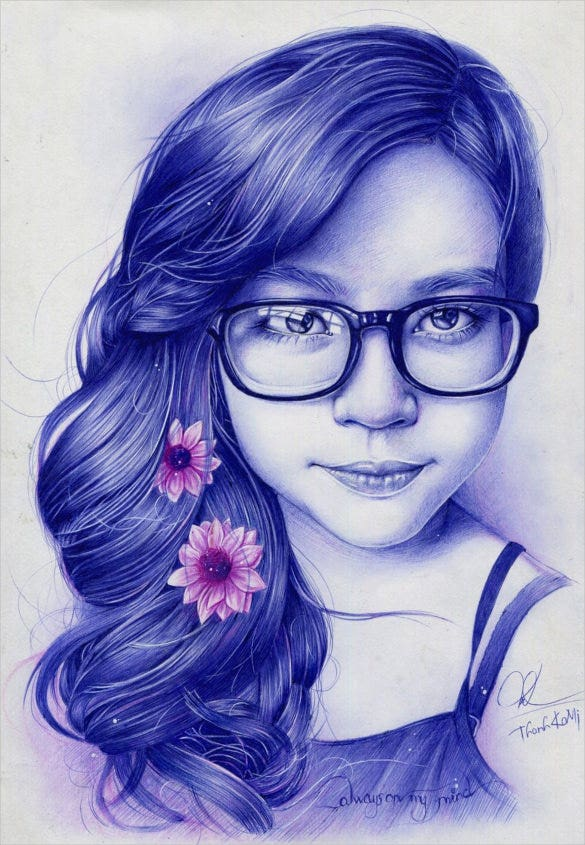 beautiful girl pen drawing
