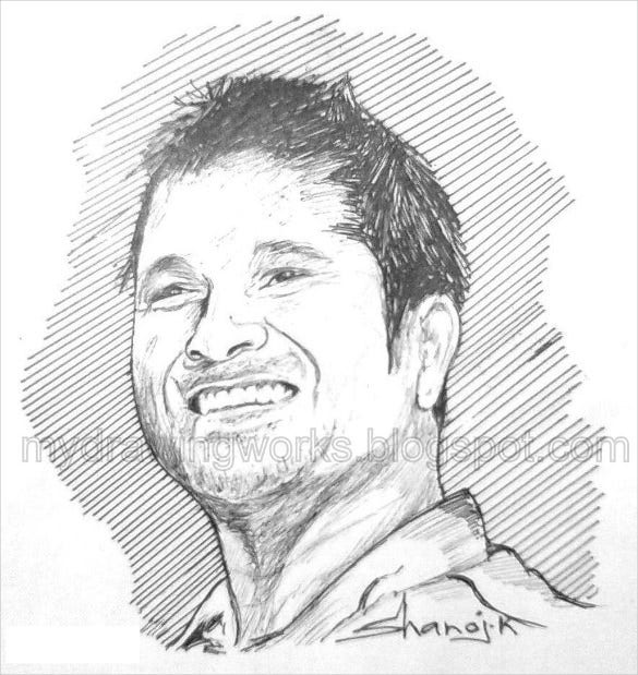 drawing of sachin tendulkar with ball pen