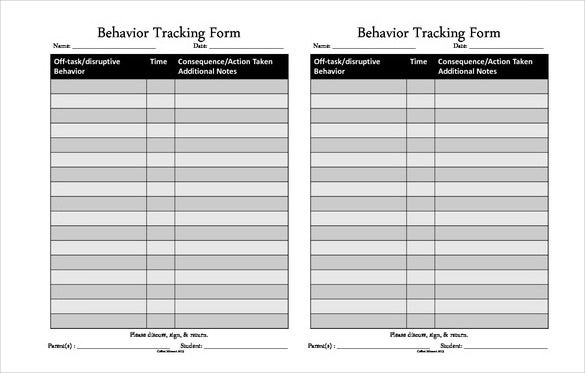 Behavior Tracking Templates  Free Sample Example Format